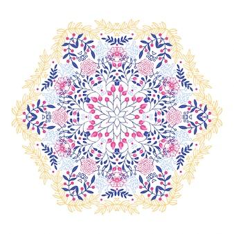 Mandala esotérica floral do vintage do ornamento redondo.