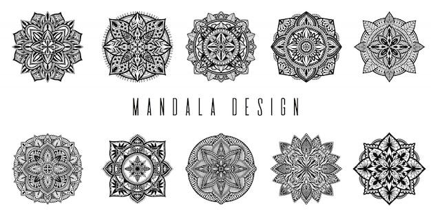 Mandala étnica conjunto de decoração.