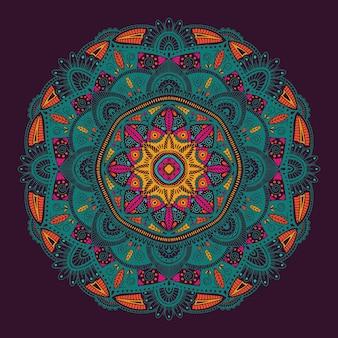 Mandala étnica floral ornamental colorida