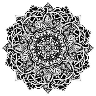Mandala étnica para livro de colorir adulto