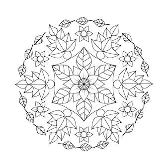 Mandala flor e folhas livro para colorir para adultos relaxantes.