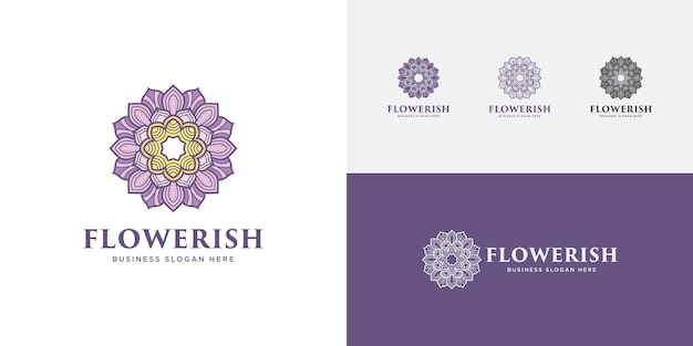 Mandala flor logotipo roxo beleza