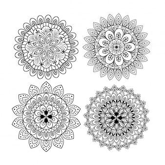 Mandala floral conjunto de ícones, luxo vintage, decoração ornamental