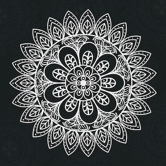 Mandala floral de cor branca em fundo escuro, mandala de luxo vintage, decoração ornamental