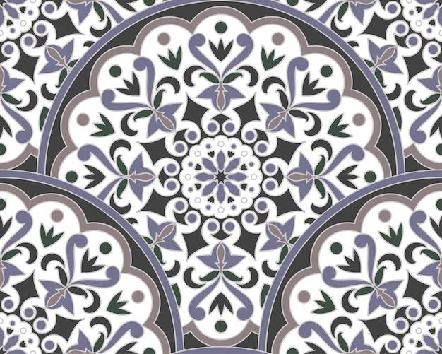 Mandala floral decorativa padrão malásia e estilo indiano