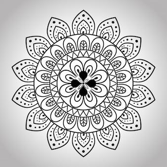 Mandala floral em fundo cinza, mandala de luxo vintage, decoração ornamental