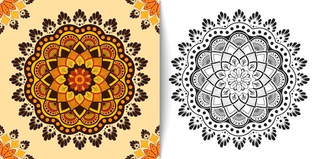 Mandala floral, ilustração em vetor ornamento luxo