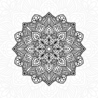 Mandala floral preto e branco