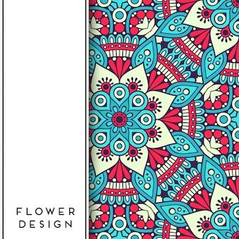 Mandala floral vermelha e azul