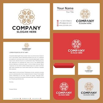 Mandala flowersleaftech mandala caleidoscópio logotipo premium e cartão de visita