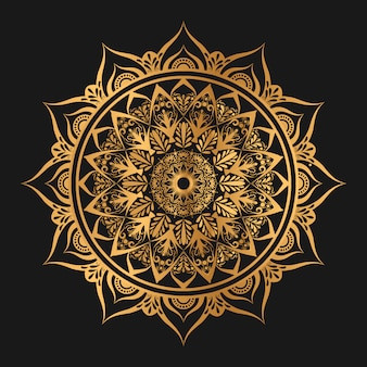 Mandala geométrica de arabesco na cor dourada