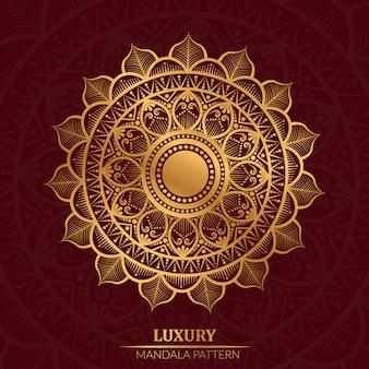 Mandala geométrica de luxo na cor dourada, arabesco com fundo vermelho