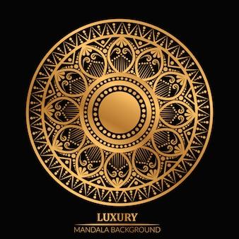 Mandala geométrica de luxo na cor dourada