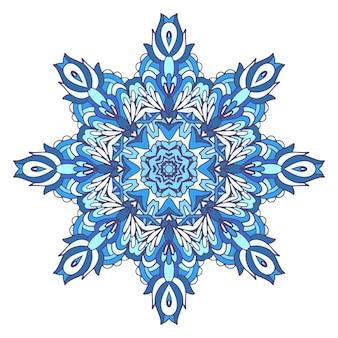 Mandala geométrica étnica abstrata do inverno azul.
