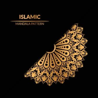 Mandala geométrica islâmica na cor dourada