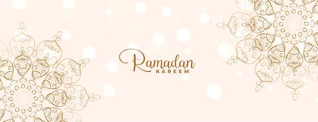 Mandala islâmica decorativa ramadan kareem ou banner eid mubarak