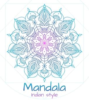 Mandala linha fina estilo indiano. budismo e meditação, decoração com flores