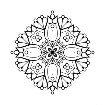 Mandala. linha simples, elemento decorativo para colorir.