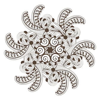 Mandala moderna em estilo zentangle para páginas de colorir livro. padrão de ornamento para design de tatuagem
