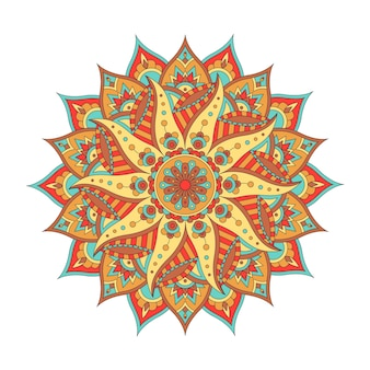 Mandala oriental de colofrful isolada no fundo branco. elemento decorativo vintage. ilustração