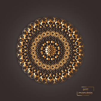 Mandala oriental de flor ornamental de ouro na cor marrom background