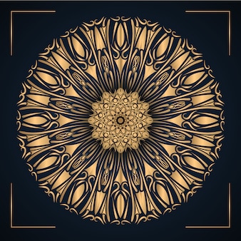 Mandala ornamental de luxo com cor de ouro