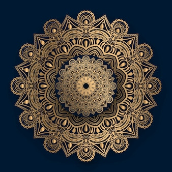Mandala ornamental de luxo com padrão islâmico dourado