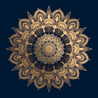 Mandala ornamental de luxo com padrão islâmico dourado Vetor Premium
