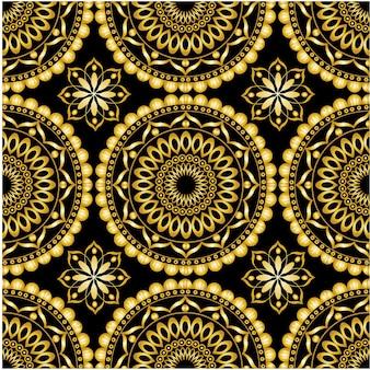 Mandala ornamental de padrão sem emenda com inspiração étnica Vetor Premium
