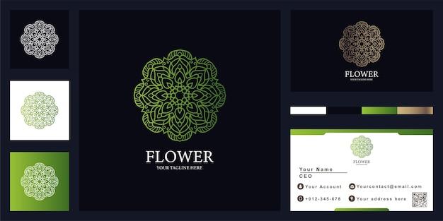 Mandala ou ornamento design de modelo de logotipo de luxo com cartão de visita