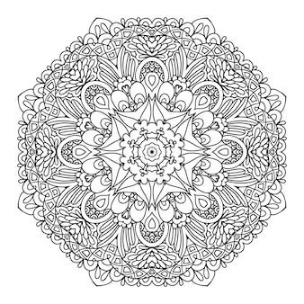 Mandala. padrão monocromático circular. ilustração vetorial - eps 8