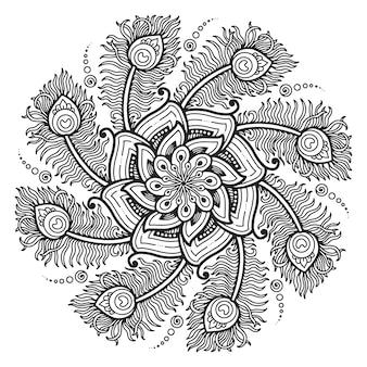 Mandala para colorir design de penas de pavão de página.