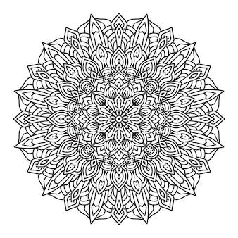 Mandala para colorir em estilo de fundo preto e branco