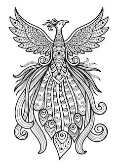Mandala para colorir o design do pavão de página.