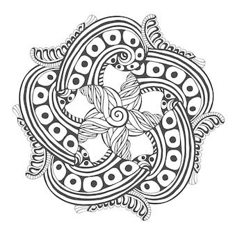 Mandala para páginas para colorir livro. desenho de tatuagem de padrão de ornamento vetorial