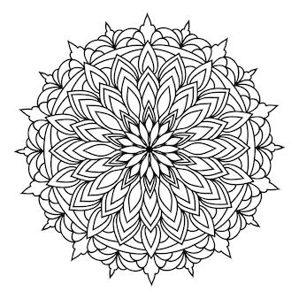 Mandala redonda de renda ornamental oriental monocromática desenhada à mão