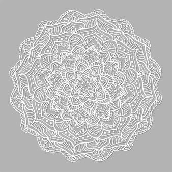 Mandala redonda de vetor branco