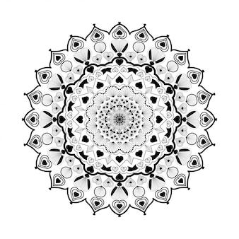 Mandala redonda em branco e preto