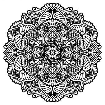 Mandala redonda flor, henna. elementos decorativos vintage.
