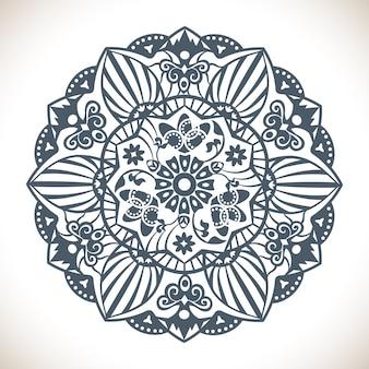 Mandala redonda monocromática