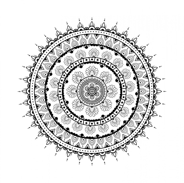 Mandala redonda ornamentada decorativa