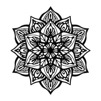 Mandala redonda preta sobre fundo branco isolado. vector boho mandala com padrões florais. conceito de ioga, terapia anti-stress