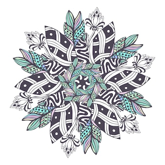 Mandala vector em estilo floral. zentangle para páginas para colorir livro. padrão de ornamento para design de tatuagem de henna