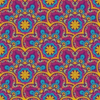 Mandalas étnicas tribais sem costura repetem design