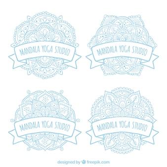 Mandalas logos de ioga lightblue set