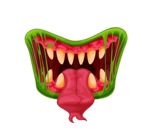 Mandíbulas de monstro verde. boca, dentes e língua de desenho animado, criatura assustadora de halloween ou besta perigosa. boca de vetor com presas afiadas em limo verde ou saliva e língua comprida bifurcada
