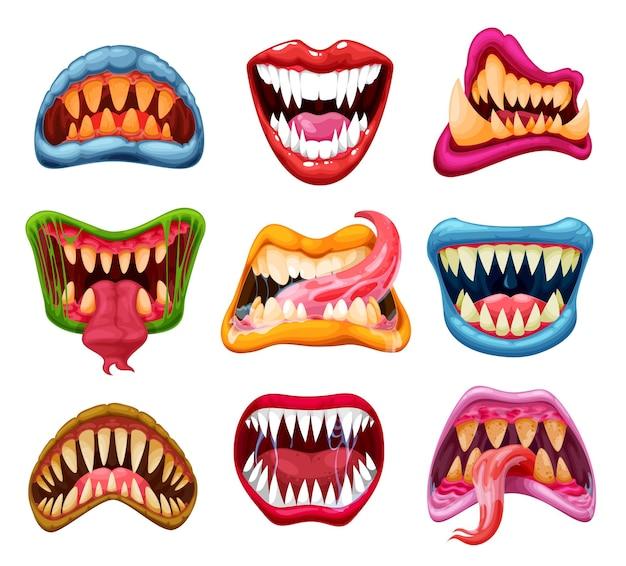 Mandíbulas e bocas de monstros, dentes de desenho animado, línguas