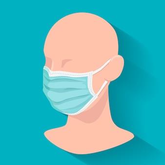 Manechin com máscara médica