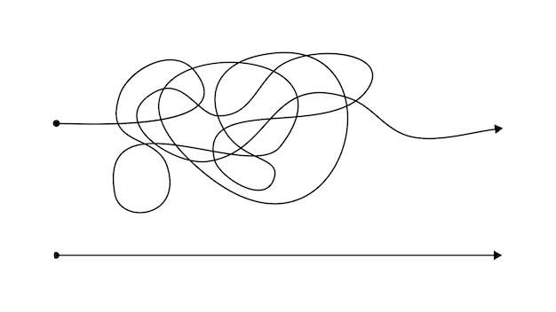 Maneira certa simples e errada complexa com linha bagunçada. linhas pretas com um ponto inicial e uma seta no final, isoladas no fundo branco. ilustração vetorial