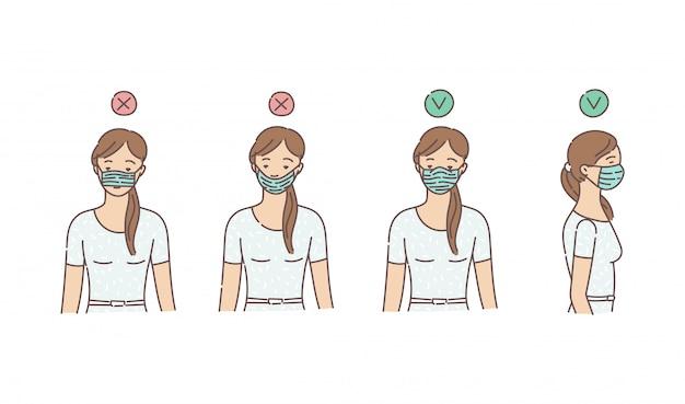 Maneiras de usar máscara protetora de vírus médicos microb, desenho ilustração vetorial.